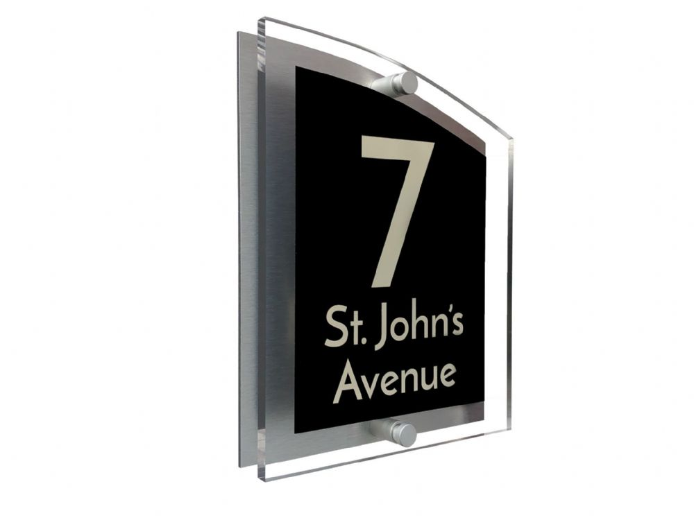 Arc Shape - Clear Acrylic House Sign - Black Colour with Double Cream text in Font  3